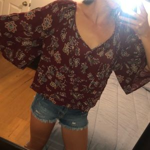 A&F burgundy patterned top